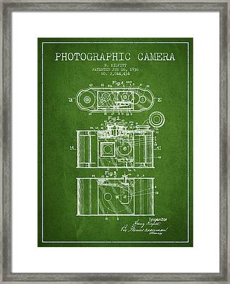 1936 Photographic Camera Patent - Green Framed Print by Aged Pixel