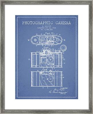 1936 Photographic Camera Patent - Light Blue Framed Print by Aged Pixel