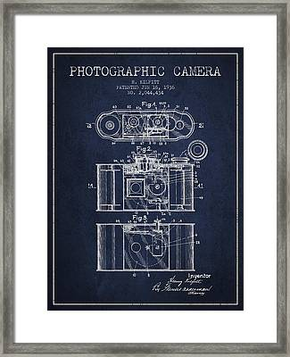 1936 Photographic Camera Patent - Navy Blue Framed Print by Aged Pixel