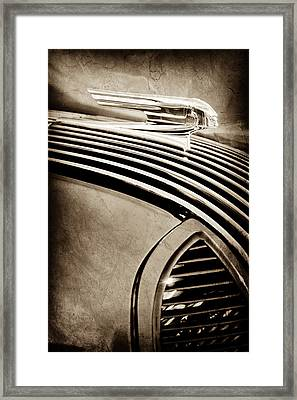 Framed Print featuring the photograph 1936 Pontiac Hood Ornament -1140s by Jill Reger