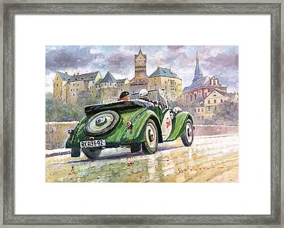 1936 Praga Baby Roadster And Loket Kastle Framed Print