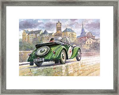 1936 Praga Baby Roadster And Loket Kastle Framed Print