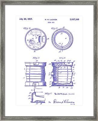 1937 Beer Keg Patent Blueprint Framed Print