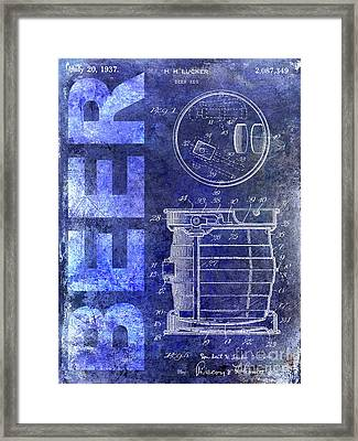 1937 Beer Tap Patent Blue Framed Print