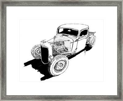 1937 Chevy Bobber Truck Hot Rod Ink Dwg Framed Print by David King