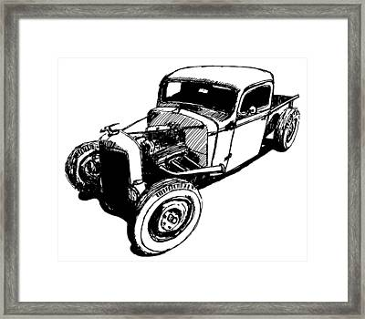 1937 Chevy Bobber Truck Hot Rod Tee Framed Print by David King