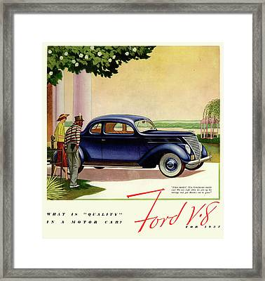 1937 Ford Car Ad Framed Print