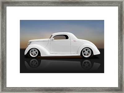 Framed Print featuring the photograph 1937 Ford Coupe  -  1937fordcoupereflect172185 by Frank J Benz