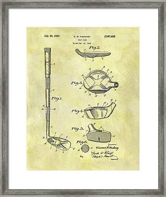 1937 Golf Club Patent Framed Print