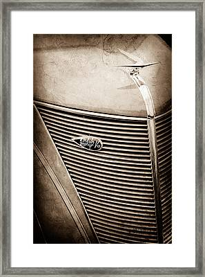 1937 Lincoln-zephyr Coupe Sedan Grille Emblem - Hood Ornament -0100s Framed Print by Jill Reger
