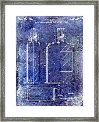 1937 Liquor Bottle Patent Blue Framed Print by Jon Neidert