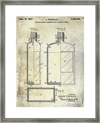 1937 Liquor Bottle Patent  Framed Print