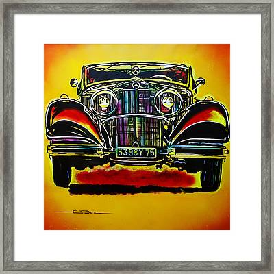 Framed Print featuring the painting 1937 Mercedes Benz First Wheel Down by Eric Dee