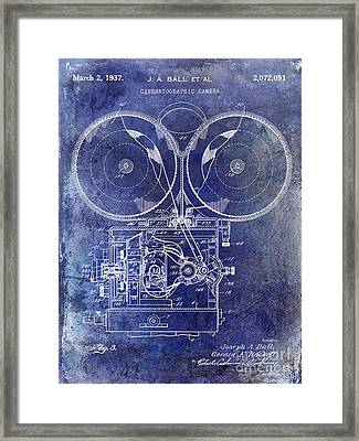1937 Motion Picture Camera Patent Blue Framed Print