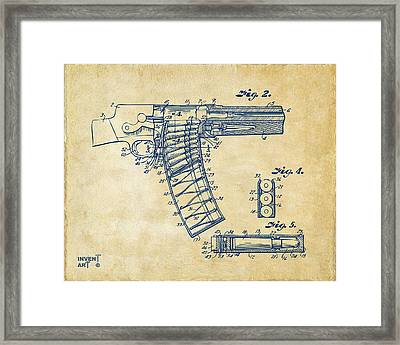 1937 Police Remington Model 8 Magazine Patent Minimal - Vintage Framed Print