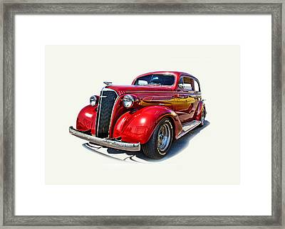 1937 Red Chevy Master Deluxe Framed Print by Mamie Thornbrue