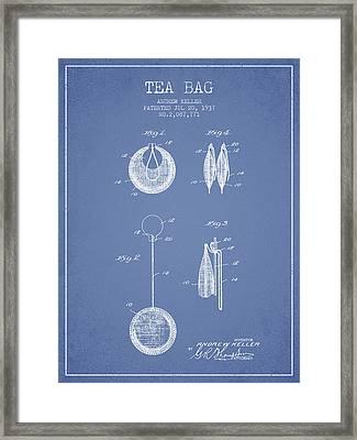 1937 Tea Bag Patent 02 - Light Blue Framed Print by Aged Pixel