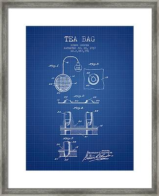 1937 Tea Bag Patent - Blueprint Framed Print