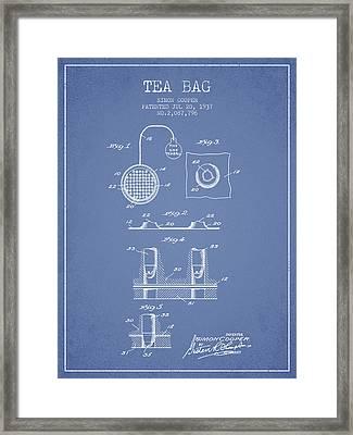 1937 Tea Bag Patent - Light Blue Framed Print by Aged Pixel