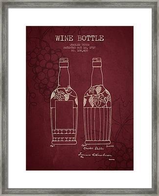 1937 Wine Bottle Patent - Red Wine Framed Print