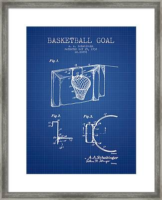 1938 Basketball Goal Patent - Blueprint Framed Print by Aged Pixel