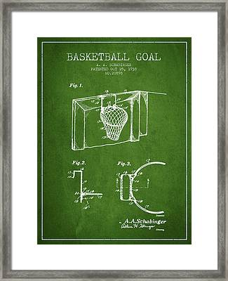 1938 Basketball Goal Patent - Green Framed Print by Aged Pixel