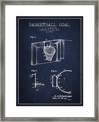 1938 Basketball Goal Patent - Navy Blue Framed Print by Aged Pixel