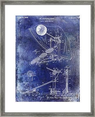 1938 Bass Drum Pedal Patent Blue Framed Print