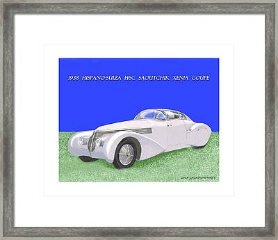 1938 Hispano Suiza H6c Saoutchik Xenia Coupe Framed Print by Jack Pumphrey