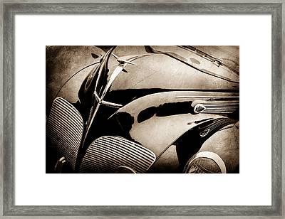 1938 Lincoln-zephyr Convertible Coupe Grille - Hood Ornament - Emblem -0108s Framed Print by Jill Reger