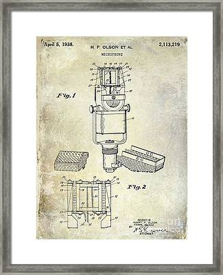 1938 Microphone Patent Drawing Framed Print by Jon Neidert