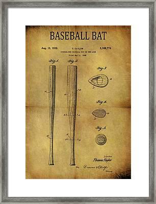 1939 Baseball Bat Patent Framed Print
