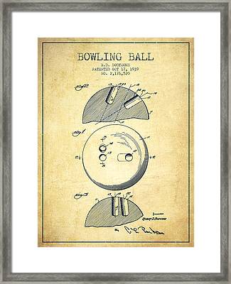 1939 Bowling Ball Patent - Vintage Framed Print by Aged Pixel