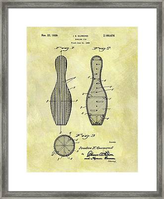 1939 Bowling Pin Patent Framed Print by Dan Sproul