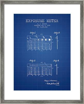1939 Exposure Meter Patent - Blueprint Framed Print by Aged Pixel