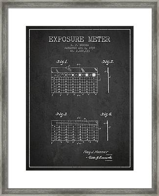 1939 Exposure Meter Patent - Charcoal Framed Print by Aged Pixel