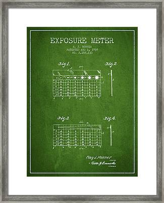 1939 Exposure Meter Patent - Green Framed Print by Aged Pixel