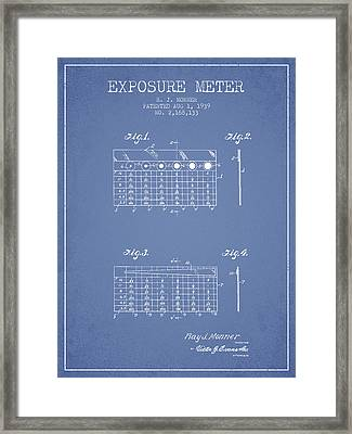 1939 Exposure Meter Patent - Light Blue Framed Print by Aged Pixel