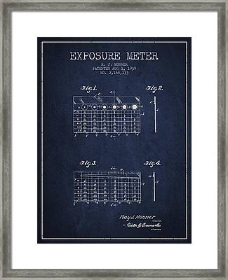 1939 Exposure Meter Patent - Navy Blue Framed Print by Aged Pixel