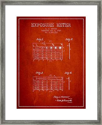 1939 Exposure Meter Patent - Red Framed Print by Aged Pixel