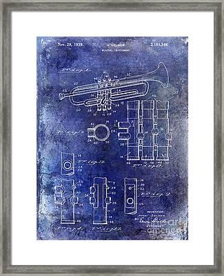 1939 Trumpet Patent Blue Framed Print by Jon Neidert