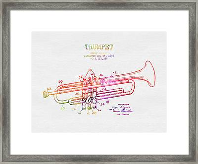 1939 Trumpet Patent - Color Framed Print by Aged Pixel