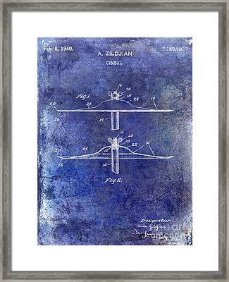 1940 Cymbal Patent Blue Framed Print
