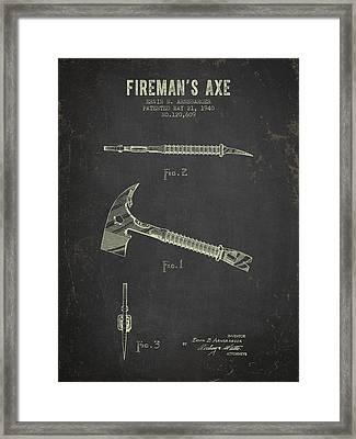 1940 Firemans Axe Patent - Dark Grunge Framed Print