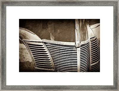 1940 Ford Deluxe Coupe Grille -0283s Framed Print by Jill Reger