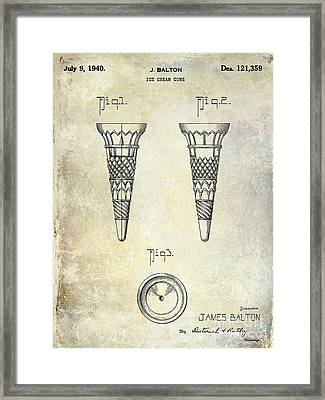 1940 Ice Cream Cone Patent Framed Print