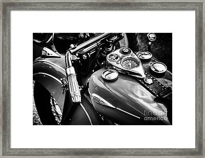 1940 Indian Sport Scout Motorcycle Monochrome  Framed Print