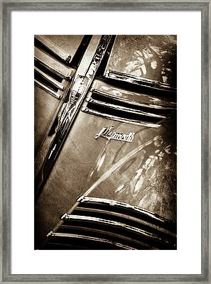 1940 Plymouth Deluxe Woody Wagon Grille Emblem -1124s Framed Print by Jill Reger