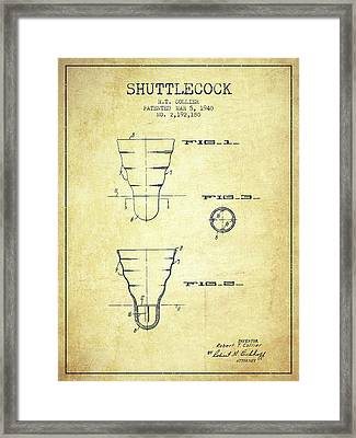1940 Shuttelcock Patent Spbm02_vn Framed Print by Aged Pixel