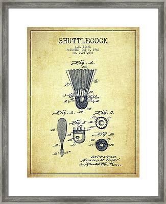 1940 Shuttelcock Patent Spbm03_vn Framed Print by Aged Pixel